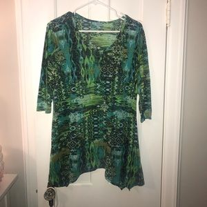 Green patterned tunic.